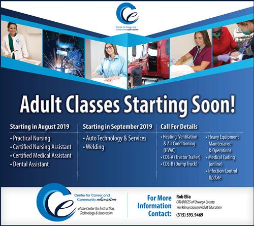 CCCE adult Ed classes graphic with classes and dates text