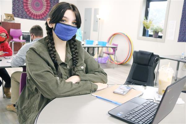 student enjoys new learning space