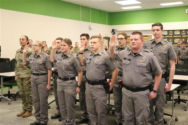 Public Safety & Justice Students Take Oath of Enlistment from U.S. Army Astronaut in Space