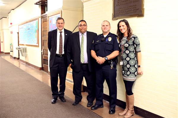 School resource officer welcomed by staff.