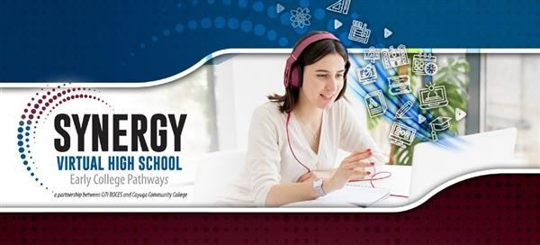 Image of girl at laptop with Synergy logo and school icons