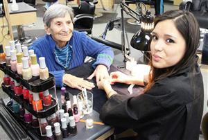 Visitors recently stopped by CiTi's Cosmetology class for some manicures.